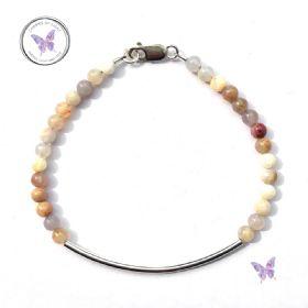 Australian Agate Silver Tube Bracelet
